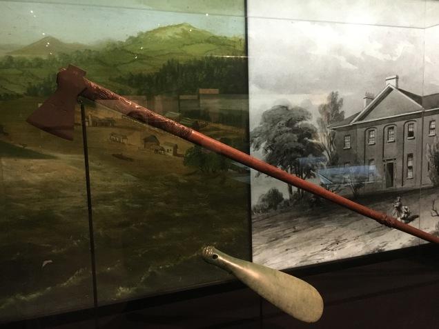 Long handled axe and mere used at battle of Ruapekapeka
