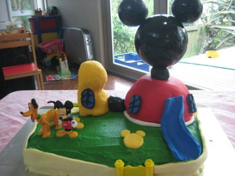 A Mickey Mouse Clubhouse cake for second son
