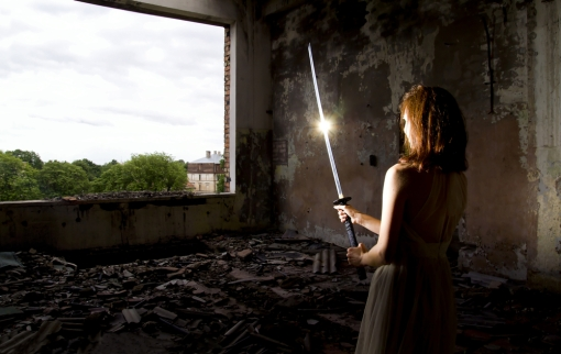 paranormal sword and girl in ruins